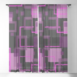 fine Rectangles pink pattern black Sheer Curtain