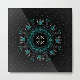 Buffalo Skull and Feathers (Aqua) Metal Print