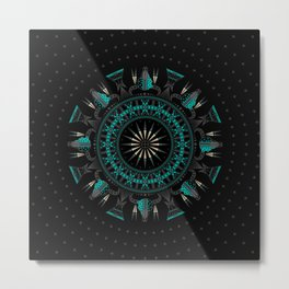 Buffalo Skull and Feathers (Aqua) Metal Print
