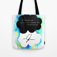 fault in our stars Tote Bags featuring The Fault in Our Stars by Awful Artist