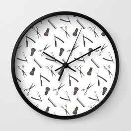 Barbershop pattern shaving razor, brushes and scissors on white Wall Clock