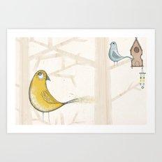 Yellow and blue bird Art Print