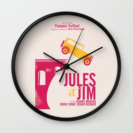 Jules et Jim, François Truffaut, minimal movie Poster, Jeanne Moreau, french film, nouvelle vague Wall Clock