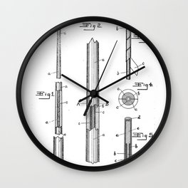 Pool Cue Patent - 9 Ball Art - Black And White Wall Clock
