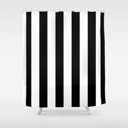 Black & White Vertical Stripes - Mix & Match with Simplicity of Life Shower Curtain