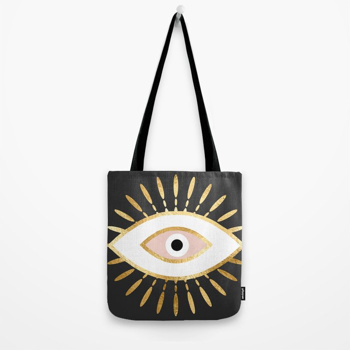 gold foil evil eye in blush Umhängetasche