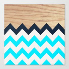 Chevron & Wood Canvas Print