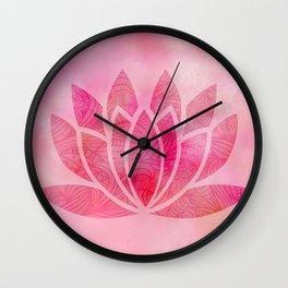Zen Watercolor Lotus Flower Yoga Symbol Wall Clock