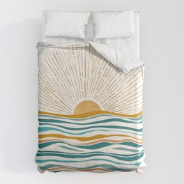 The Sun and The Sea - Gold and Teal Duvet Cover
