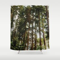 vancouver Shower Curtains featuring North Vancouver Forest by Natahsha Priya
