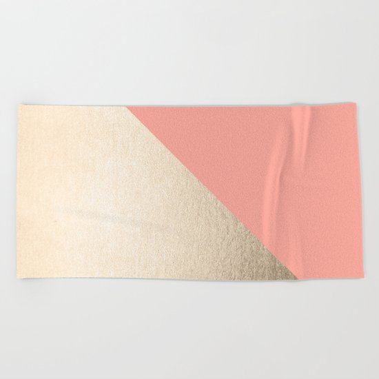 Simply Shadow in White Gold Sands on Salmon Pink Beach Towel