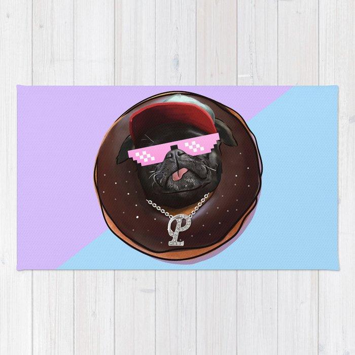 Snoop Pug Chocolate Donut Rug