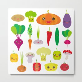 Kawaii vegetables peppers, pumpkin beets carrots, eggplant, red hot peppers, cauliflower, broccoli Metal Print