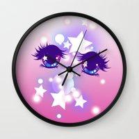 pastel goth Wall Clocks featuring Fairy Kei Pastel Goth Dreamy Shoujo Manga Eyes by KawaiiMachine