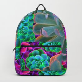 COLORFUL GREY, GREEN PINK GARDEN SUCCULENTS Backpack