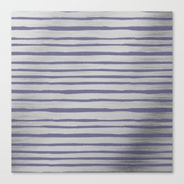 Violet gray silver watercolor brushstrokes stripes Canvas Print