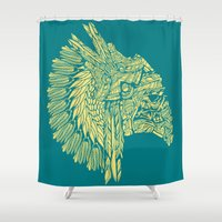 native american Shower Curtains featuring Native American Storm Trooper  by Quakerninja