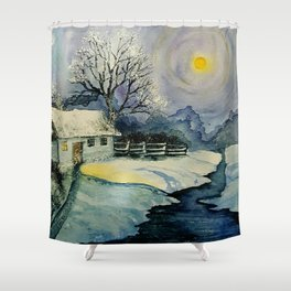 Winter, watercolor Shower Curtain