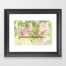 Love Scrabble Keys and Roses Framed Art Print