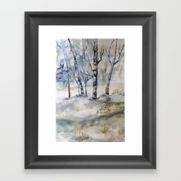 Winter, Landscape painting, Birches, Nature, Watercolor original painting Framed Art Print