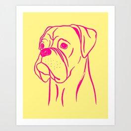 Boxer (Yellow and Hot Pink) Art Print