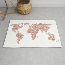 Rose Gold Glitter World Map Rug