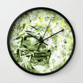 Dream wreck in grunge green kaleidoscope Wall Clock