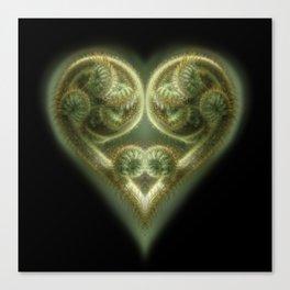 An unfurling Fern Frond is stylized into a Valentine's Heart Canvas Print