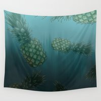 bikini Wall Tapestries featuring Bikini Bottom  by Sammy Cee