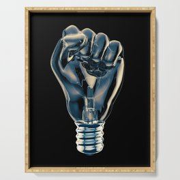 Protest fist light bulb / 3D render of glass light bulb in the form of clenched fist Serving Tray