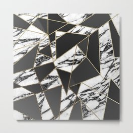 Chic Modern Gold Marble and Black Geometric Metal Print