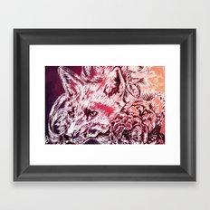 Fox with flowers Framed Art Print