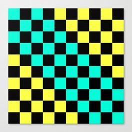 Black, Aqua, & Yellow Checkerboard Pattern Canvas Print