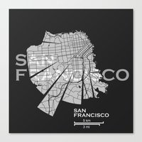 san francisco map Canvas Prints featuring San Francisco Map by Shirt Urbanization