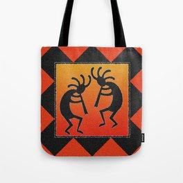 Red Orange And Black Kokopelli Tote Bag