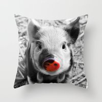 piglet Throw Pillows featuring BW splash sweet piglet by MehrFarbeimLeben