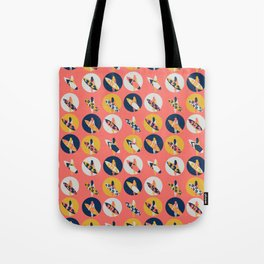 Surfer Girl Pattern Coral Tote Bag