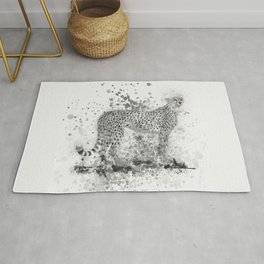 Cheetah in Black and White Rug