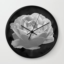 Silver Satin Rose - My Love For You Wall Clock