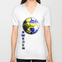 sweden V-neck T-shirts featuring Old football (Sweden) by seb mcnulty