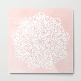 Mandala Mermaid Sea Pink by Nature Magick Metal Print