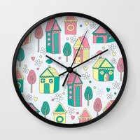 home sweet home Wall Clocks featuring Home by One April