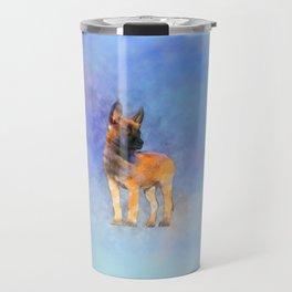 Belgian Malinois Puppy Painting - Mechelaar Travel Mug