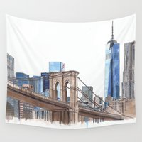 brooklyn bridge Wall Tapestries featuring Brooklyn Bridge by Christina Brunnock