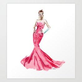 Sabrina / Hepburn Fuschia Pink Red | Fashion Gown Dress Art Print