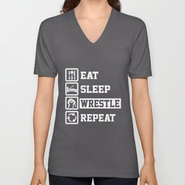 Eat Sleep Wrestle Repeat Funny Gifts for Wrestler Unisex V-Neck