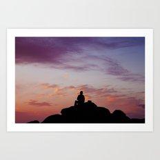 Man Enjoying Sunset II Art Print