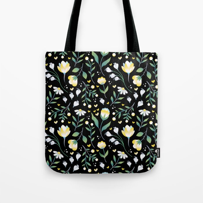 Colourscape Summer Floral Pattern Black Tote Bag