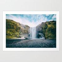 Iceland Beautiful Waterfall Art Print