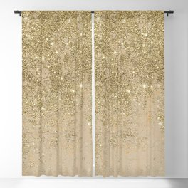 Girly trendy gold glitter ivory marble pattern Blackout Curtain